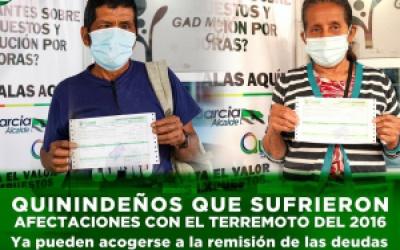 QUININDEÑOS QUE SUFRIERON AFECTACIONES CON EL TERREMOTO DEL 2016 YA PUEDEN ACOGERSE A LA REMISIÓN DE LAS DEUDAS TRIBUTARIAS, NO TRIBUTARIAS CONTEMPLADAS EN LA LEY ORGÁNICA DE SIMPLIFICACIÓN Y PROGRESIVIDAD TRIBUTARIA.